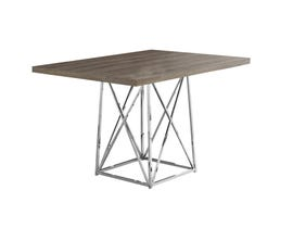 """Monarch 36""""X 48"""" Chrome Metal Dining Table in Dark Taupe I1057"""