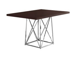 """MONARCH Dining Table - 36""""X 48"""" / CAPPUCCINO / CHROME METAL I1058"""