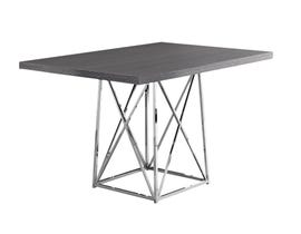"""MONARCH Dining Table - 36""""X 48"""" / GREY / CHROME METAL I1059"""