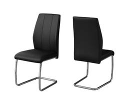 "MONARCH Dining Chair - 2PCS / 39""H / BLACK LEATHER-LOOK / CHROME I1076"