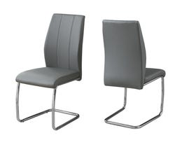 """MONARCH Dining Chair - 2PCS / 39""""H / GREY LEATHER-LOOK / CHROME I1077"""