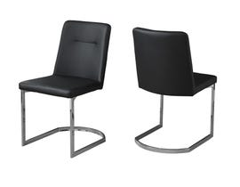 "MONARCH Dining Chair - 2PCS / 34""H / BLACK LEATHER-LOOK / CHROME I1083"