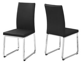 "MONARCH Dining Chair - 2PCS / 38""H / BLACK LEATHER-LOOK / CHROME I1092"
