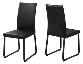 "MONARCH Dining Chair - 2PCS / 38""H / BLACK LEATHER-LOOK / BLACK I1106"