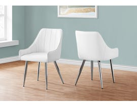 Monarch Leather Look Dining Chair (Set of 2) in White I1184