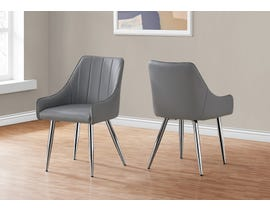 Monarch Leather Look Dining Chair (Set of 2) in Grey I1186