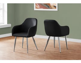 Monarch Leather-look Dining Chair (Set of 2) in Black I1191