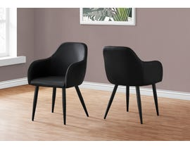 Monarch Leather-look Dining Chair (Set of 2) in Black I1193