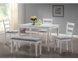 Monarch DINING SET - 5PCS SET / WHITE BENCH AND 3 SIDE CHAIRS I1210