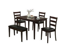 Monarch DINING SET - 5PCS SET / CAPPUCCINO BENCH & 3 SIDE CHAIRS I1211