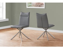 Monarch Leather Look Dining Chair (Set of 2) in Grey I1214