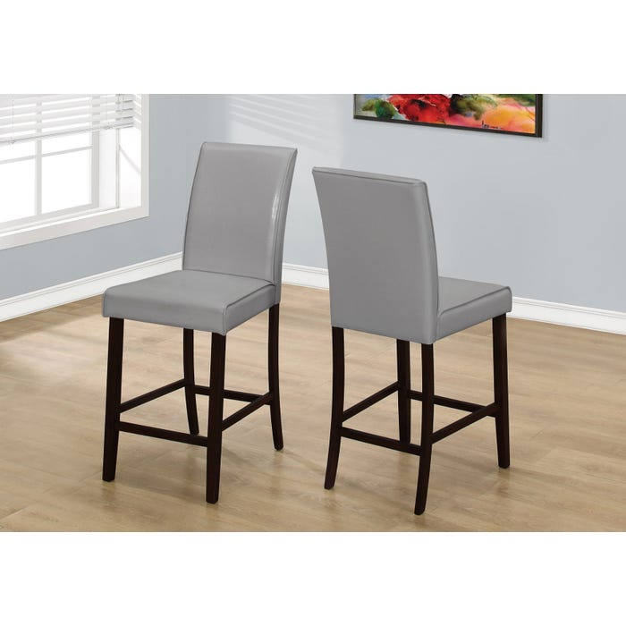 Monarch DINING CHAIR - 2PCS / GREY LEATHER-LOOK COUNTER HEIGHT I1902