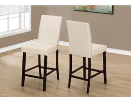 Monarch DINING CHAIR - 2PCS / IVORY LEATHER-LOOK COUNTER HEIGHT I1903