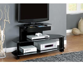 "Monarch TV STAND - 48""L / GLOSSY BLACK WOOD / METAL / TEMPERED I2000"