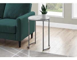 Monarch Metal White Marble-look Accent Table in Silver I2205