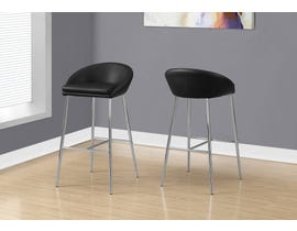 Monarch Counter height BAR STOOL in BLACK and CHROME BASE 2PCS/pack I2294