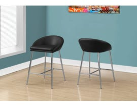 Monarch Bar height Bar Stool (Set of 2) in Black and Chrome Base I2295