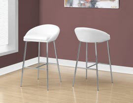 Monarch Counter height BAR STOOL in white and CHROME BASE 2PCS/pack I2296