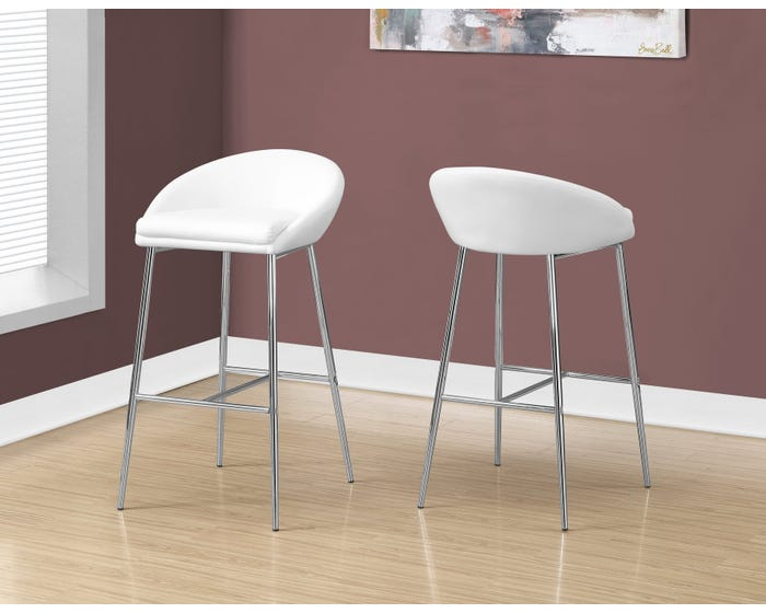 Incredible Monarch Counter Height Bar Stool In White And Chrome Base 2Pcs Pack I2296 Lamtechconsult Wood Chair Design Ideas Lamtechconsultcom