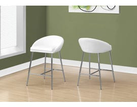Monarch Bar height BAR STOOL in White and CHROME BASE 2PCS/pack I2297