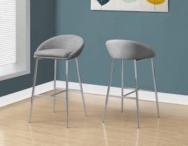 Monarch Counter height BAR STOOL in grey fabric and CHROME BASE 2PCS/pack I2298