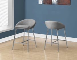 Monarch Bar height BAR STOOL in Grey Fabric and CHROME BASE 2PCS/pack I2299
