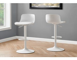 Monarch Metal Hydraulic Lift Barstool (Set of 2) in White I2314