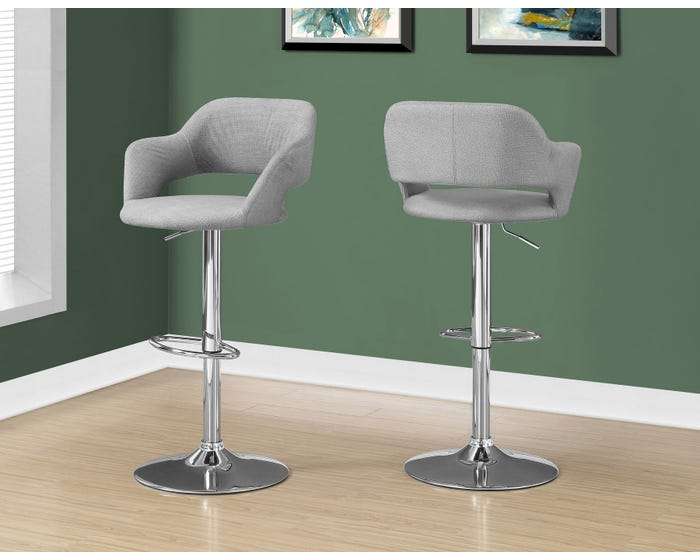 Astonishing Monarch Fabric Bar Stool With Hydraulic Lift In Grey I2363 Camellatalisay Diy Chair Ideas Camellatalisaycom