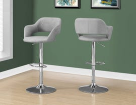 Monarch Fabric Bar Stool with Hydraulic Lift in Grey I2363