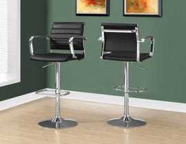 Monarch bar stool in black and chrome metal hydraulic lift ( set of 2 ) I2373