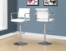 Monarch bar stool in white and chrome metal hydraulic lift (set of 2)  I2374