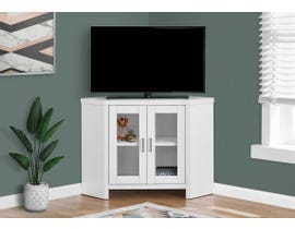 "Monarch 42"" TV Stand with Glass Doors in White I2703"