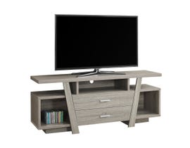 "MONARCH TV Stand - 60""L / DARK TAUPE WITH 2 STORAGE DRAWERS"