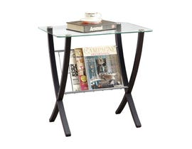 Monarch Accent Table - Cappuccino Bentwood With Tempered Glass I3021