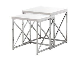 Monarch NESTING TABLE - 2PCS SET / GLOSSY WHITE / Chrome METAL I3025