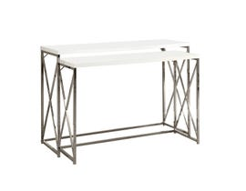 "Monarch ACCENT TABLE - 46""L /2PCS SET/ GLOSSY WHITE/ Chrome METAL I3027"