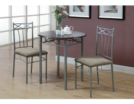 Monarch 3pc Dining Set with Silver Metal in Cappuccino I3075