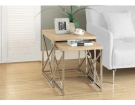 Monarch NESTING TABLE - 2PCS SET / NATURAL WITH Chrome METAL I3205