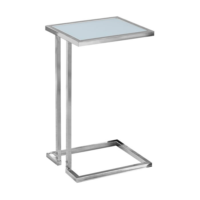 MONARCH Accent Table - CHROME METAL WITH FROSTED TEMPERED GLASS