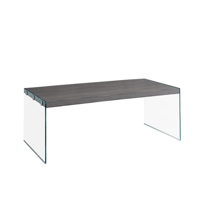 MONARCH Coffee Table - GREY WITH TEMPERED GLASS