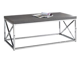 MONARCH Coffee Table - GREY WITH CHROME METAL