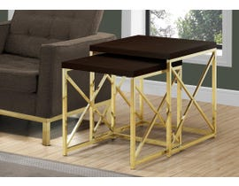 Monarch NESTING TABLE - 2PCS SET / CAPPUCCINO / GOLD METAL I3237