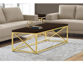 Monarch COFFEE TABLE - CAPPUCCINO WITH GOLD METAL I3238