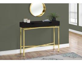 """Monarch ACCENT TABLE - 42""""L / CAPPUCCINO / GOLD HALL CONSOLE I3239"""