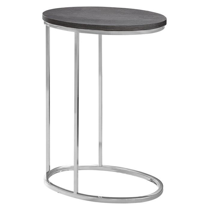 MONARCH Accent Table- OVAL / GREY WITH CHROME METAL