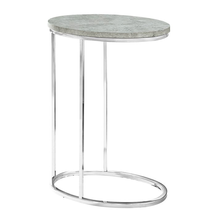 MONARCH Accent Table- OVAL / GREY CEMENT WITH CHROME METAL