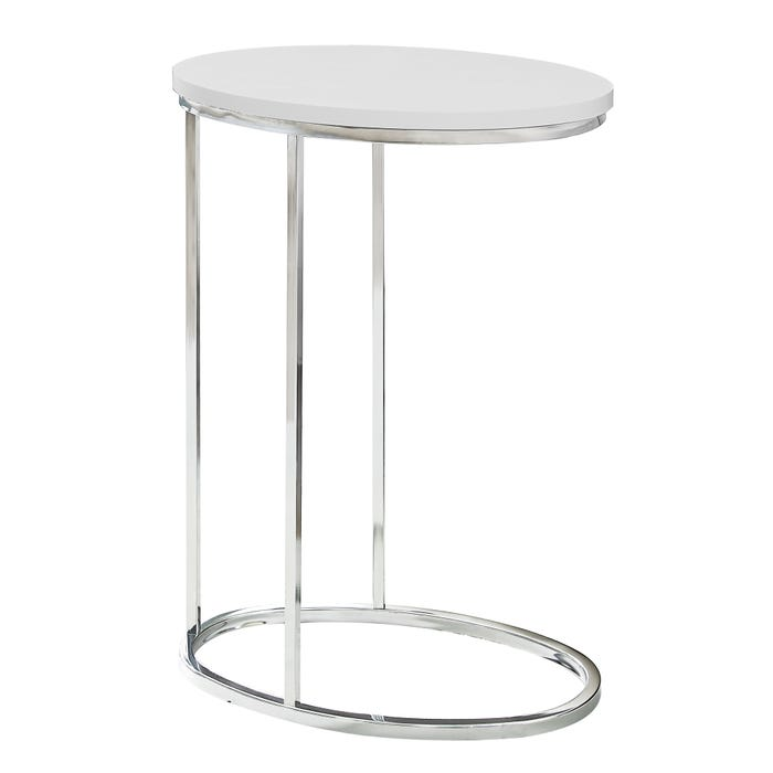 MONARCH Accent Table- OVAL / GLOSSY WHITE WITH CHROME METAL