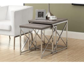 Monarch NESTING TABLE - 2PCS SET / DARK TAUPE WITH Chrome METAL I3255