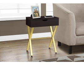 "Monarch ACCENT TABLE - 24""H / CAPPUCCINO / GOLD METAL I3261"