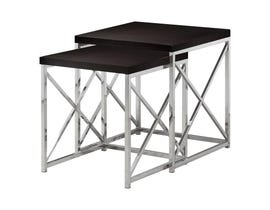 Monarch NESTING TABLE - 2PCS SET / CAPPUCCINO WITH Chrome METAL I3271